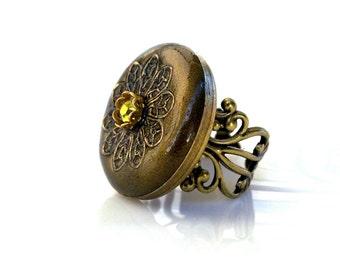 Steampunk Ring Swarovski Ring Olivine Adjustable Ring Oversized Ring Vintage Style Jewelry