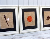 Sports Nursery Wall Art / Set of Three Burlap Art Prints / Football / Baseball / Basketball