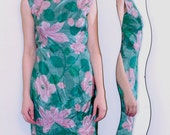 Vivid Print Silk Dress w/High Collar