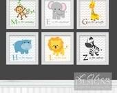 CUSTOM - Zoo Safari Animals Chevron and Letters Nursery Art 8x8