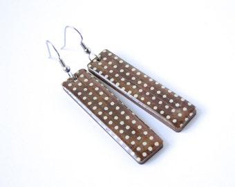 Cocoa Earrings, Geometric, Polka Dots, Chocolate Earrings, Laser Cut wood, Lightweight, Gift Under 20, Long Earrings