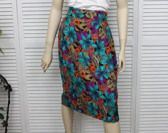 Vintage Pencil Skirt Turquoise Blue and Purple Size 12