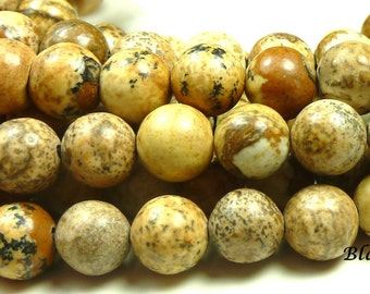 10mm Picture Jasper Natural Gemstone Beads - 16 Inch Strand - Brown, Sand, Tan, Swirls, Earth Tones - BC20