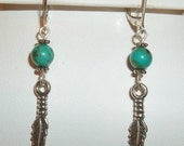 Sterling feather and turquoise earrings