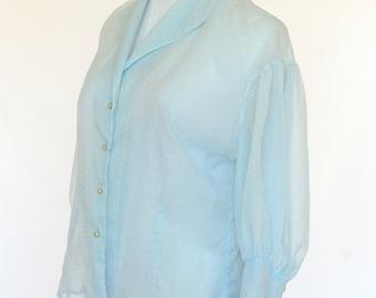 50's Vintage Blouse, Ladies Shirt, Sheer Blouse