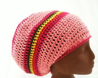 Pink Dread Tam - Organic Cotton Vegan Dreadlock Crown - READY TO SHIP - Rasta Queen Crown - Crochet Tam - Dreadlock Tam