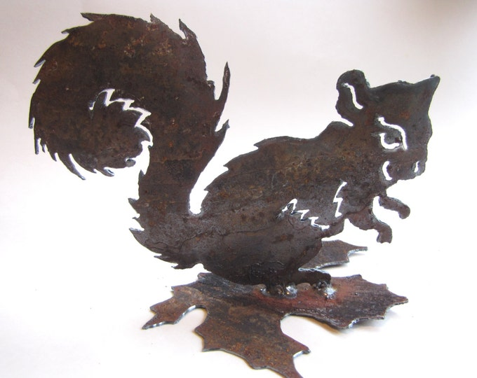 Rusty Little Squirrel Metal Garden Art or Home Decor Recycled Handmade