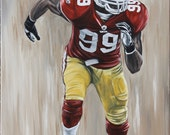 San Francisco 49er Aldon Smith Acrylic painting on Stretched Framed Canvas