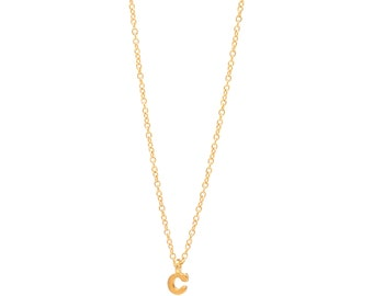 Gold Vermeil Personalized Initial Necklace - Delicate 14k Gold Filled Chain - Small Gold Vermeil Initial Charm - 17in. Necklace