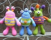 Bug Eyed Monsters Amigurumi Crochet Pattern, Tarquin, Theodore and Winston.