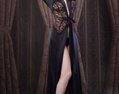 Women's Dressing Gown, Black Robe/Dressing Gown, inspired by Marilyn Monroe, Black Satin and Lace, Pin-up Girl, Retro, Vintage Style