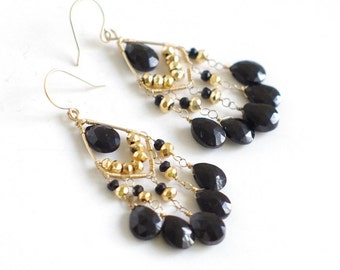 Chandelier Earrings with black spinel, gold pyrite, 14K Gold filled Wire wrapped--vintage. E117