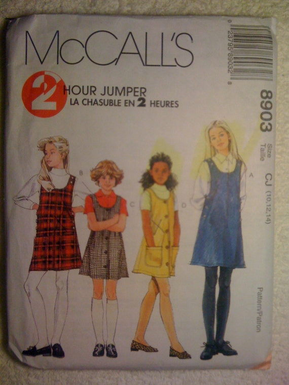 McCalls 90s Sewing Pattern 8903 Girls Jumpers Size 10-14 Sale
