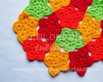 Pentagonal flower Crochet Pattern. Cairo pentagonal tiling, Crochet flower pattern
