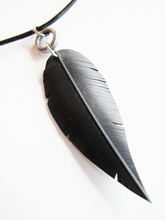 Mens Bicycle Innertube Black Feather Necklace - Recycled Jewelry - eco friendly - guys- man