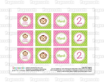 Printable DIY Pink and Green Monkey Girl Theme Personalized Happy Birthday Cupcake Toppers