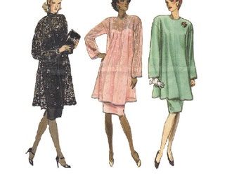 Vogue 80s Sewing Pattern Plus Size Dress with Overblouse Loose Fit Evening Formal Loose Fit Mother of Bride Dress Bust 40