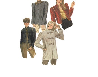 80s Jacket Mandarian Collar McCall's Sewing Pattern Toggle Closing Puff Shoulder Asian Style Coat Women's Suit Uncut FF Bust 32