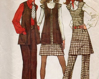 70s Retro Pants Dress Tunic Vest Jumper Simplicity Sewing Pattern Bust 36 Waist 28