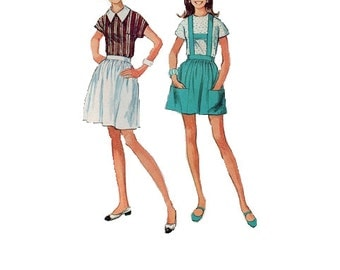 60s Retro Blouse Simplicity Sewing Pattern Full Fit Flared Mini Skirt with Suspenders Lederhosen Uncut Bust 29