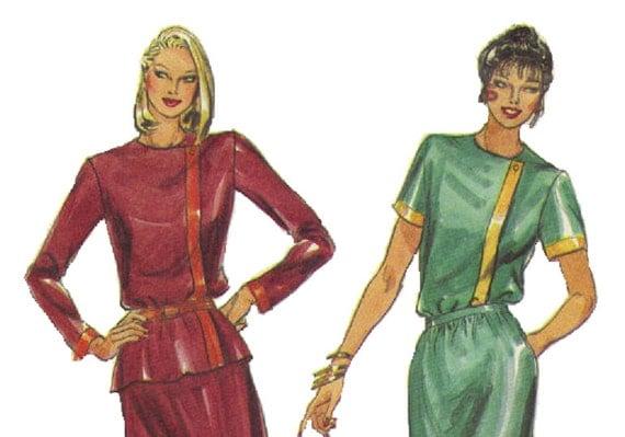 Butterick 70s 80s Sewing Pattern Asymmetrical Front Blouse A-line Skirt Long Short Sleeve Shirt Round Neck Bust 34