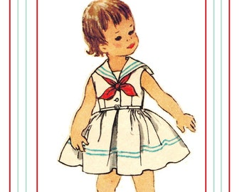 Simplicity 2358 Photocopy of Adorable Vintage 50s Toddler Girls Middy Dress Sailor Collar, Bow Tie, Sleevless or Short Sewing Pattern Size 3