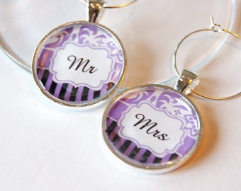 Mr Mrs Wine Charms, Wine Charms, barware, Wedding Wine Charms, Wedding Shower, Bridal Shower, table setting, purple, silver plate (1995)