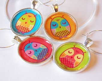 Owl Wine Charms, Owl charms, Wine Glass Charms, Wine Charms, silver plated, bright colors, barware, entertaining (2003)