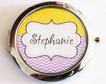 Personalized compact mirror, custom, purse mirror, compact mirror, yellow, purple, pocket mirror, personalized, custom gift (2165)