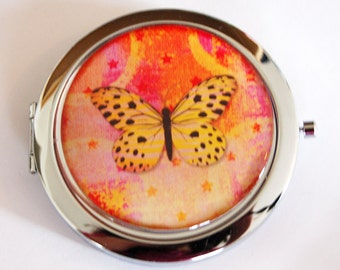 Pocket mirror, Compact mirror, Butterfly compact mirror, Orange, Pink, butterfly mirror, mirror, purse mirror, double sided mirror (2191)