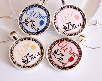 Wine Diva, Wine Charms, Wine Glass Charms, wine lover, silver plate, barware, entertaining, table setting (2313)
