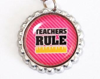 Teachers Rule, Teacher Bookmark, bookmark, book mark, Shepherd Hook, gift for teacher, Pink (2492)