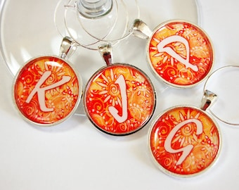 Custom Wine Charms, Personalized, Wine Glass Charms, Wine Charms, barware, entertaining, table setting, orange, monogram (2522)