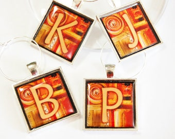 Personalized wine charms, Wine Charms, Wine Glass Charms, custom, monogram, silver plate, orange, brown (2354)
