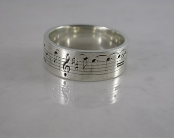 Music Note Ring (Sterling Silver, Bronze, Stainless Steel) (Wide-7mm) (Size 4-13)