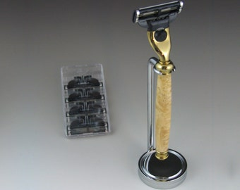 Shaving Razor, Mach3 w Stand and four Gillette Mach3 blades, Exotic wood or acrylic handle