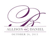 Pretty Script Wedding Logo Design - DIY, Monogram, Classic, Elegant, Purple, Gray, Silver