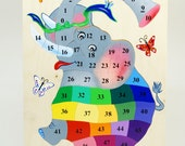 Woden puzzle for children - counting game - elephant