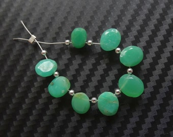 Jade Green Chrysoprase Faceted Cut Gemstone Table Cut Oval Drops Set of 8 pieces G3777