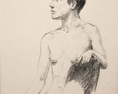 "Life Drawing Figure Study Female Nude 10X8"" Matted 14X11"" No.106"