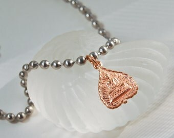 Rose Gold Buddha  Necklace .  Stainless Steel Chain