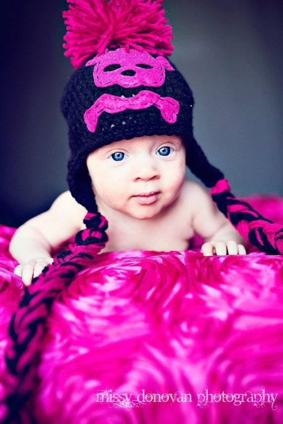 Crochet Pink & Black Punk Rock Skull Beanie Hat Newborn MADE TO ORDER