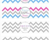 Twins Baby Shower Chevron Water Bottle Labels for Boys, Girls, or Both