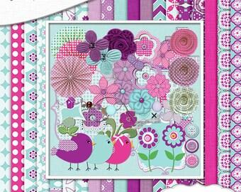2 Dollar Sale Save 80%! Digital Scrapbooking: Emma Digital Scrapbook Kit in Turquoise Blue, Purple, Instant Download