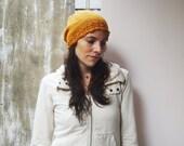 Slouchy Knit Hat with Lace Brim - tangerine pumpkin orange - women's or teen - fashion feminine slouch beanie fall