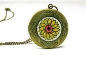 Hand Painted Sunflower Locket - Wearable Art Jewelry