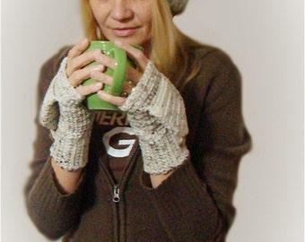 Three Piece Set, Slouch Hat, Crochet Beanie, Convertible Fingerless Mittens, Aran Fleck Texting Gloves, Hat Glove Set