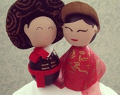 Custom (Traditional Vietnamese Bride and Mexican Groom) Wedding Cake Toppers