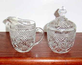 Set CRIS d ARQUES Durand ANTIQUE Crystal Covered Lidded Sugar Bowl Creamer Pitcher Heavy Cut France Glassware Excellent Condition