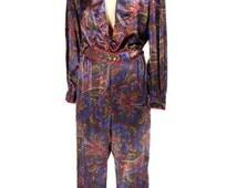 vintage 1980s BILL BLASS paisley jumpsuit / loungewear / one piece romper / satin / women's vintage jumpsuit / size medium